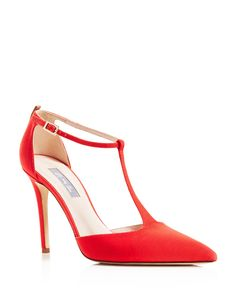 SJP by Sarah Jessica Parker Taylor Pointed Toe T-Strap Pumps - A leg-lengthening T-strap design from SJP by Sarah Jessica Parker stuns in subtly lustrous grosgrain, and finishes with a sleek point toe that recalls retro-inspired glamour.