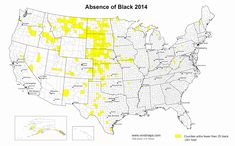 Counties with fewer than 25 black Americans (2010 & 2014)