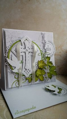 Kartka z kopertą - Komunia Św. First Communion Cards, First Holy Communion, Hobbies And Crafts, Diy And Crafts, Spellbinders Cards, Religious Symbols, Die Cut Cards, Sympathy Cards, Baby Cards