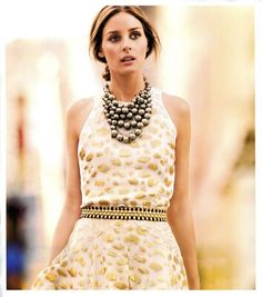 olivia palermo 2014, statement necklaces, fashion chic, olivia palermo necklace, the dress, street styles, olivia palermo dress, bib necklaces, chunky necklaces