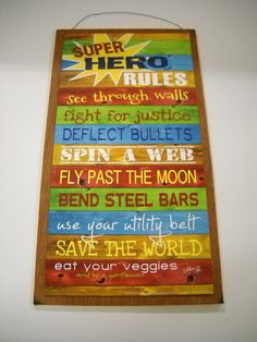 Super Hero rules boys bedroom inspirational Wooden by melimarlatt