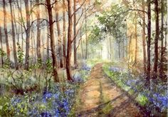Watercolor landscape painting forest -WIOSENNE AFTERNOON (5991456557) - Allegro.pl - More than auctions.