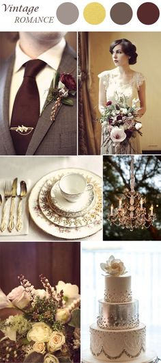 marsala and gold vintage wedding color ideas