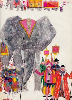 Illustration by Brian Wildsmith Art And Illustration, Illustrations Posters, Circus Art, Elephant Art, Illustrators, Art For Kids, Book Art, Design Art, Images