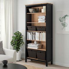 "HEMNES Bookcase, black-brown/light brown, 35 3/8x77 1/2 "" Ikea Hemnes Bookcase, Black Bookshelf, Dark Wood Bookcase, Black Shelves, Bookcase Styling, Ikea Family, Adjustable Shelving, Black And Brown, Lineup"