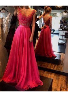 159.90$ Buy here - http://vijkx.justgood.pw/vig/item.php?t=7wpxat54151 - Scoop Neck Long Chiffon Prom Dresses Lace Appliques Beaded Women Dresses 159.90$
