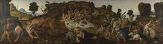 Piero di Cosimo : Battle between Lapiths and Centaurs (The National Gallery, London) ピエロ・ディ・コジモ Metamorphosis Book, Female Centaur, Ovid Metamorphoses, Roman Gods, National Gallery, Art Ancien, High Renaissance, Art Database, Chiaroscuro