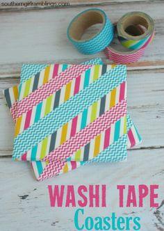 Washi Tape Ideas – DIY Washi Coasters - Southern Girl Ramblings #DIY #Crafts #WashiTape