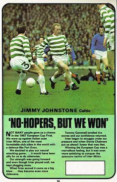 Jimmy Johnstone of Celtic in Jimmy Johnstone, Italian Cup, Scottish Quotes, Celtic Fc, European Cup, Professional Football, One Team, Football Team, New Friends