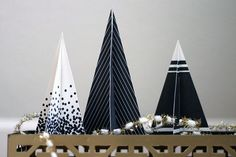 black and white paper tree