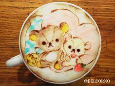 Amazing Rilakkuma latte' art!!! Magnifico!!!