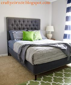 Turning a box spring into a bed frame is budget friendly and a great way to disguise those ugly box springs!