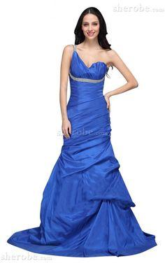 Schulterfrei Meerjungfrau Stil Taft Ärmelloses Abendkleid mit mehrschichtigen Rüsche - Bild 1