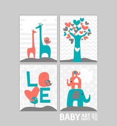 Baby Girl Nursery art, Set of 4 8x10. Giraffe, Birds, Love, Elephants, Coral teal grey ( S810125 ) on Etsy, $44.00