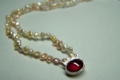 Small Pearl Necklace with Ruby & Silver Crown - Jewelry by Nicole Bolze ORIGINALS