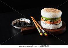 Homemade sushi salmon burger