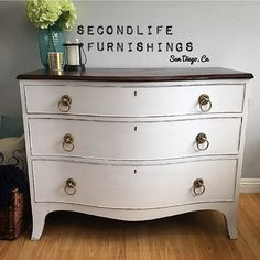"""Not only does this beauty have KeyHoles but she also has a bow front! 😍💖💗💝 🎀 Dimensions: 42"""" Long by 34"""" High by 23"""" Deep #HandPainted #upcycle #SanDiego #California #DIY #Dresser #Keyhole #ChalkPaint #AnnieSloan"""
