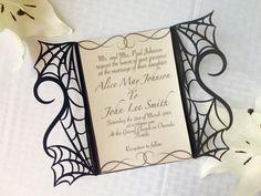 beautiful design for halloween wedding! gothic spider web halloween wedding by ShimmeringCeremony on Etsy Invitation Paper, Custom Invitations, Invites, Invitation Ideas, Our Wedding, Dream Wedding, Wedding Ideas, Elegant Wedding, Wedding Stuff