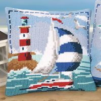 Cross Stitch Kits Sailing by the Lighthouse Pillow Top - Cross Stitch, Needlepoint, Embroidery Kits – Tools and Supplies Cross Stitch Sea, Cross Stitch Pillow, Beaded Cross Stitch, Counted Cross Stitch Kits, Cross Stitch Embroidery, Cross Stitch Patterns, Tapestry Kits, Cross Stitch Pictures, Needlepoint Kits