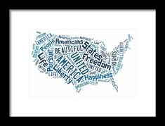 The United States Of America Map Framed Prints Art.