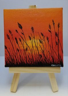 Best christmas art painting canvases holidays 62 I Small Canvas Paintings, Small Canvas Art, Mini Canvas Art, Nature Paintings, Acrylic Painting Canvas, Mini Paintings, Sunset Paintings, Sunrise Painting, Small Art