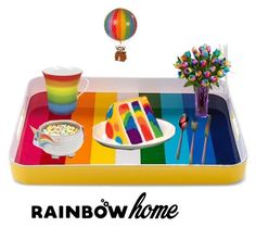 """Rainbow Home Serving Tray"" by buttercreamkisses ❤ liked on Polyvore featuring interior, interiors, interior design, home, home decor, interior decorating, Könitz and AM-Living"