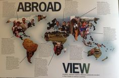 Wow design incorporates pictures into the continents and the writing doesnt look too much could use this as an interrupter page or student life to show where people are from or cool vacations they took