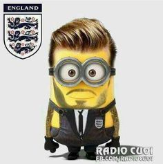 He needs to be in underwear and have a soccer ball at his feet! Now that would be for the grown up party LOLL David Beckham minion style Minions Do Mal, Evil Minions, Cute Minions, Minion Stuff, Funny Minion, Funny Images, Funny Pictures, Funny Pics, Bing Images