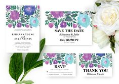 Flowers Wedding Suite Invitation by aticnomar on Flower Invitation, Wedding Invitation Suite, Floral Wedding Invitations, Invitation Design, Wedding Suite, Christmas Card Template, Printable Invitations, Save The Date Cards, Watercolor Flowers