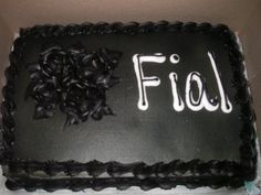 "A failed ""fail"" cake.    From the blog: ""Jen G., I used to think the shorter the word, the harder it was to screw up. Thanks for ruining another one of my theories."""