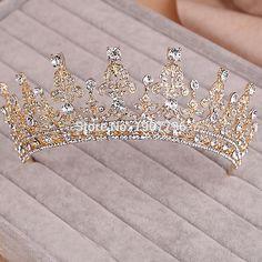 Luxury Wedding Bridal Crystal Tiara Crowns Princess Queen Pageant Prom  Rhinestone Veil Tiara Headband Wedding Hair 062206aec5f7