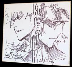 tite kubo | Sketch Ichigo Kurosaki et Kisuke Urahara de Bleach - Tite Kubo
