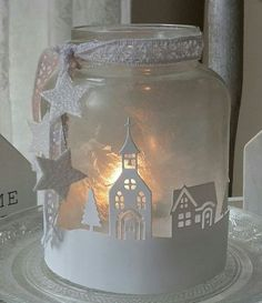 For at home and as a gift. I love this Ed # Christmas wind light …. For at home and also as … - New Site Christmas Lanterns, Christmas Jars, Christmas Time, Christmas Decorations, Mason Jar Crafts, Holiday Crafts, Diy And Crafts, Gifts, Metal Clock