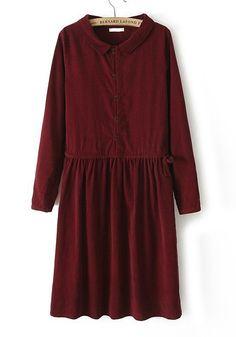 Wine Red Plain Long Sleeve Cotton Mini Dress