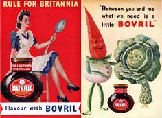 World War II posters designed to appeal to patriotic instincts and associate Bovril with the war effort.