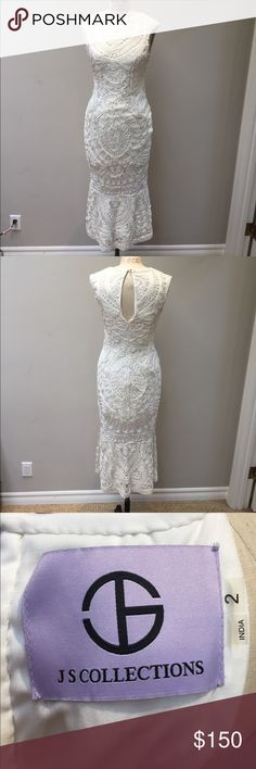 "JSCollections Tea length 50"" white lace dress JSCollections Tea length 50"" white lace dress perfect for bride to be wedding cocktail Like New  Worn once.  Very Elegant   Lining is knit w a Lycra form fitting and drapes beautifully JS Collections Dresses Wedding"
