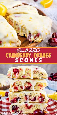 Jan 2020 - Glazed Cranberry Orange Scones - these soft, flaky scones are loaded with fresh cranberries and topped with an orange glaze. Such an easy and delicious recipe to make for breakfast or brunch! Oreo Dessert, Appetizer Dessert, Mini Desserts, Baking Recipes, Dessert Recipes, Scone Recipes, Drink Recipes, Breakfast Scones, Cranberry Orange Scones