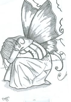 I'm not usually into fairies, but there is something about this sad fairy that I really like. It would need to be kept simple - black and white or dark brown on cream. Easy Fairy Drawing, Fairy Drawings, Angel Drawing, Pencil Art Drawings, Drawing Sketches, Sketching, Fairytale Drawings, Drawing Step, Sketch Art
