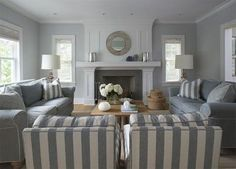 Furniture placement, fireplace as focal point...two sofas facing one another with two patterned chairs at north end of room
