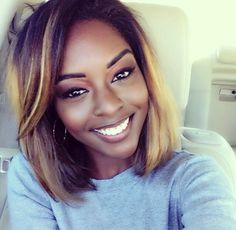 Love her hair!- Black Girls R Pretty 2 ♥ My Hairstyle, Pretty Hairstyles, Bob Hairstyles, Straight Hairstyles, Short Haircuts, Natural Hair Styles, Short Hair Styles, Relaxed Hair, Tips Belleza