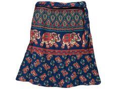 Klein Blue Elephant Print Mini Short Cotton Wrap Around Skirts