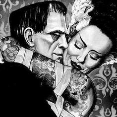 The Bride and Frankenstein Artwork by Artist Mike Bell Arte Horror, Horror Art, Illustrations, Illustration Art, Dibujos Dark, Mike Bell, Bride Of Frankenstein, Goth Art, Classic Monsters