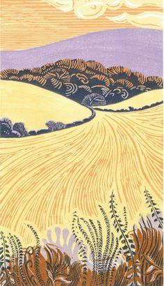 ian o'halloran | Ian O'Halloran - Folkington Hill after the harvest. Linocut