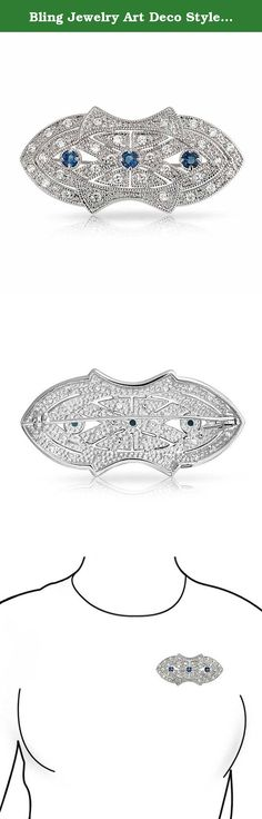Bling Jewelry Art Deco Style Blue CZ Brooch Rhodium Plated. This remarkable costume jewelry brooch is destined to be a favorite piece in your blue Simulated Sapphire color jewelry collection before long. This Vintage Style brooch is a lovely piece of jewelry that brings that classic era into the modern times in a very chic way. Order this stunning and classic Antique Style blue Simulated Sapphire CZ brooch pin for someone special on your gift list this year. It makes an especially…