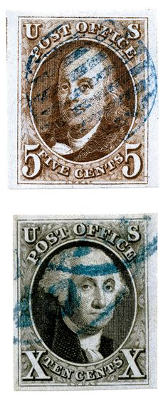 In 1847, the United States issued its first postage stamps. The 5¢ stamp commemorated Benjamin Franklin (first Postmaster General) and the 10¢ stamp George Washington (first U.S. President). The images were engraved and printed from steel plates.