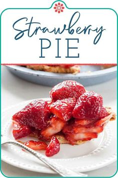 85 minutes · Vegetarian · Serves 1 · Fresh strawberry pie is a once-a-year summer treat! This easy strawberry pie is made with low-sugar pectin and cornstarch and a buttery crust. Serve the strawberry pie immediately by itself, or with… Easy Delicious Recipes, Great Recipes, Whole Food Recipes, Delicious Desserts, Favorite Recipes, Yummy Food, Easy Recipes, Pie Recipes, Chicken Recipes