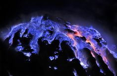 Indonesian Volcano Spews Hauntingly Beautiful Blue Lava - Imgur- what do you think makes it blue?