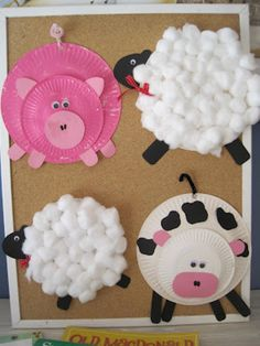 farm animal crafts for kids hot pins creative school crafts home workout equipment used Kids Crafts, Toddler Crafts, Projects For Kids, Craft Projects, Craft Ideas, Easy Crafts, Animal Projects, Kids Diy, Paper Plate Crafts For Kids