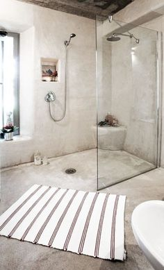 Hannah and Fynn's showers in cement either light grey or dark grey. Not sure whether I want wood slats ...mould.. Shower and surrounds use Coprox Duracote. Ideal TIles from Italcotto in light grey(90x90 cm), Earthcote , Limestone,paint in a shade of grey on all the other walls,