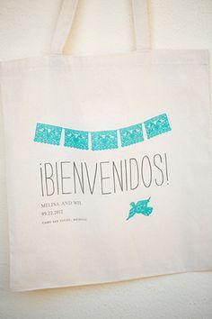 mexico wedding welcome bag. photo by amybennettphoto.com Wedding Guest Bags, Destination Wedding Welcome Bag, Wedding Welcome Bags, Wedding Favor Bags, Beach Wedding Favors, Unusual Wedding Gifts, Wedding Present Ideas, Best Wedding Gifts, Cancun Wedding